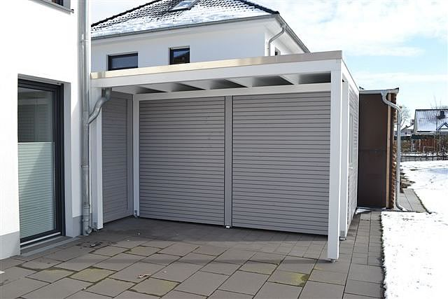 Schiebetür carport  Flachdach-Carport in Bielefeld | Pollmeier Holzbau GmbH