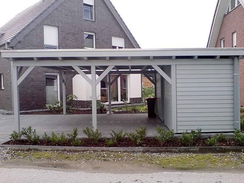 Flachdach-Doppelcarport in Gütersloh | Pollmeier Holzbau GmbH