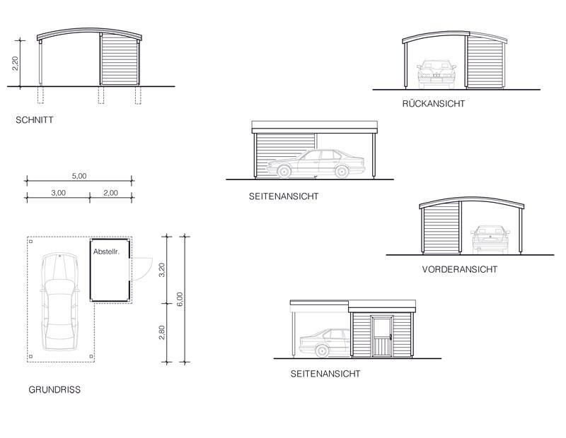 Tonnen Dach Carport m Abstell