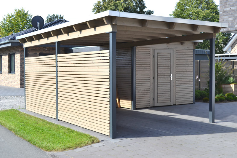 Carport holz mit abstellraum for Carport doppelcarport