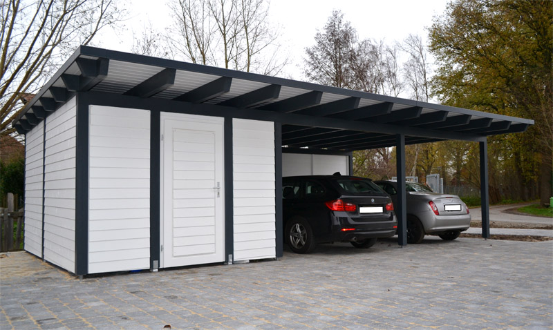 doppelcarport als flachdach mit abstellraum rietberg. Black Bedroom Furniture Sets. Home Design Ideas