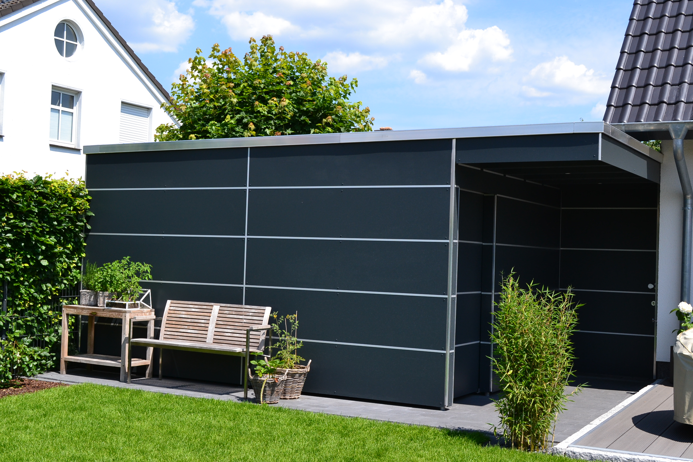 doppelcarport mit 8mm trespa platten und abstellraum in verl pollmeier holzbau gmbh. Black Bedroom Furniture Sets. Home Design Ideas