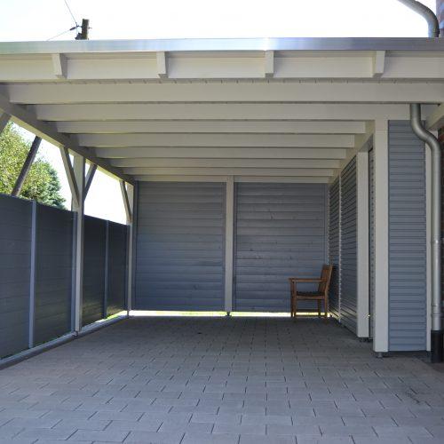 Flachdachcarport mit Abstellraum und Cono-Profil in Spexard