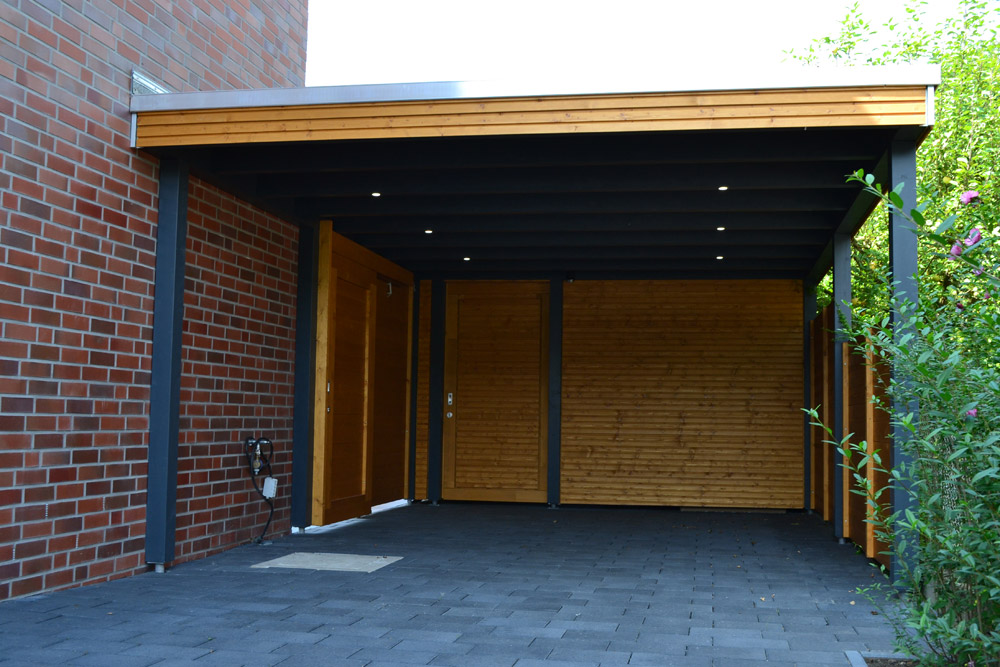 carport mit abstellraum und led beleuchtung in oelde pollmeier holzbau gmbh. Black Bedroom Furniture Sets. Home Design Ideas