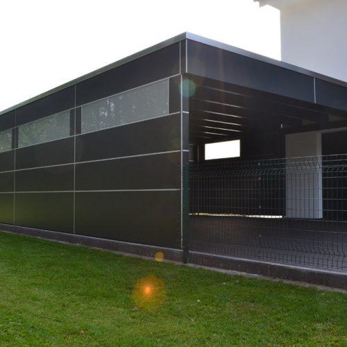 Doppelcarport mit Abstellraum aus HPL Platten in Schloß Holte