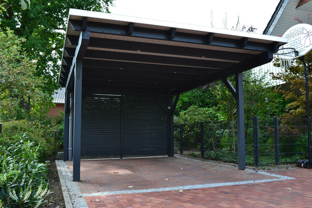 flachdachcarport mit led beleuchtung in rietberg pollmeier holzbau gmbh. Black Bedroom Furniture Sets. Home Design Ideas