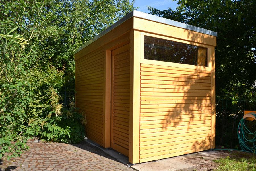 Abstellraum mit Rhombusprofil in Oelde | Pollmeier Holzbau ...