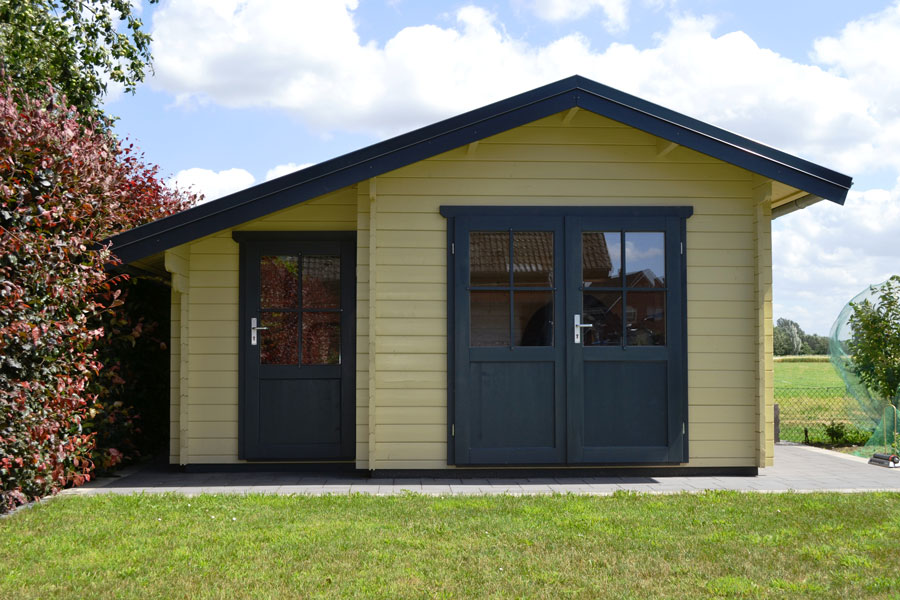 gartenhaus mit abstellraum aus 45 mm blockbohlen in oelde. Black Bedroom Furniture Sets. Home Design Ideas
