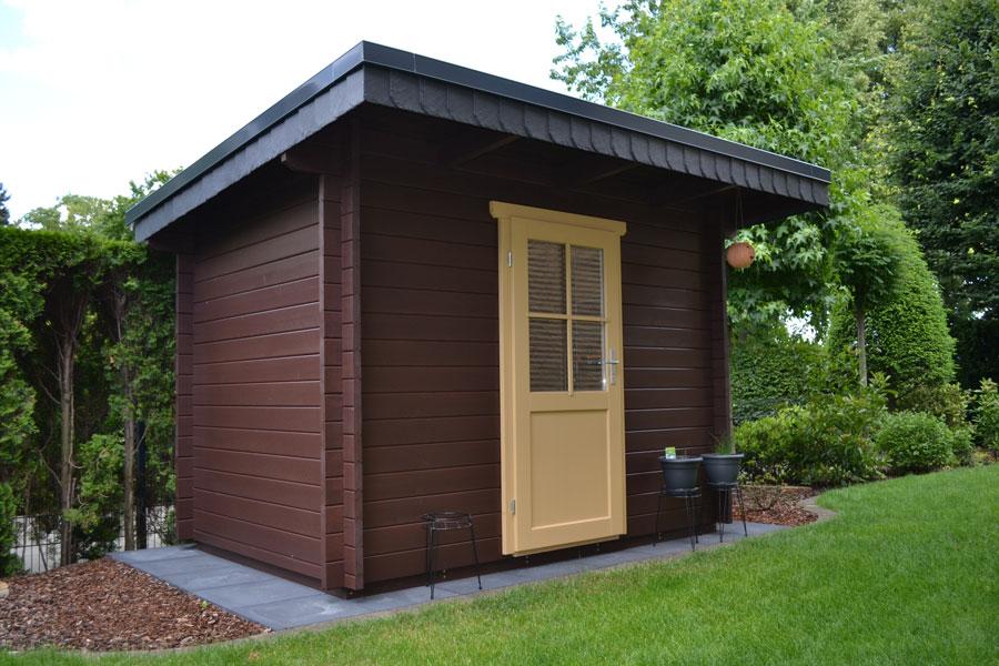 pultdach gartenhaus aus 45 mm blockbohlen in spexard. Black Bedroom Furniture Sets. Home Design Ideas