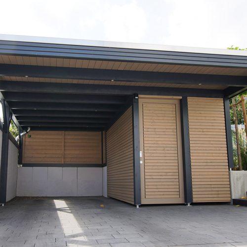 Flachdachcarport mit Abstellraum und Rhombusprofil in Oelde