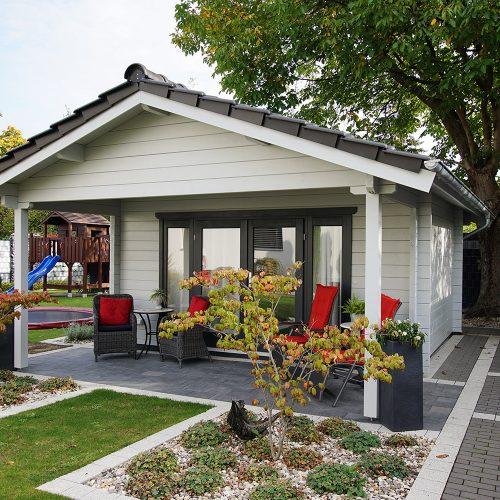 Gartenhaus aus 70mm BB als Satteldach mit Abstellraum