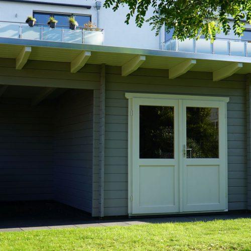 Pultdachgartenhaus mit Unterstand aus 45mm BB in Bielefeld